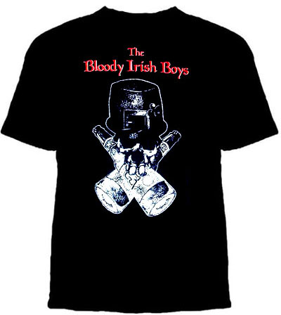 Bloody Irish Boys- Skull And Bottles on a black shirt (Sale price!)