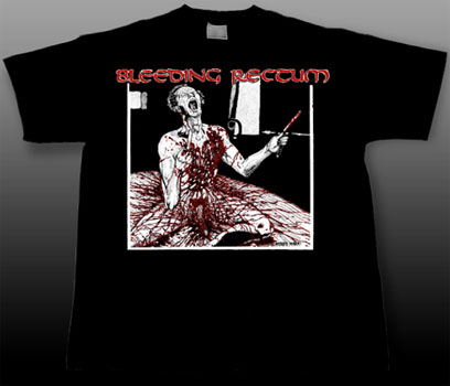 Bleeding Rectum- Bloody Guy on a black YOUTH SIZED shirt (Sale price!)