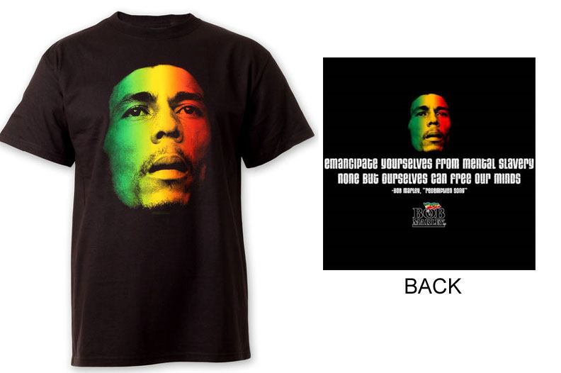 Bob Marley- Face on front, Quote on back on a black shirt