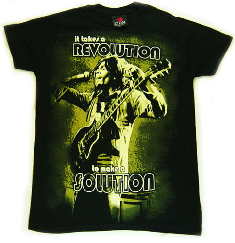 Bob Marley- It Takes A Revolution To Make A Solution Oversized Print on a black shirt (Sale price!)