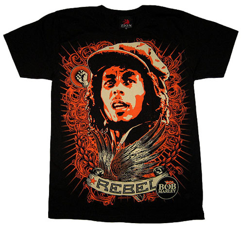 Bob Marley- Rebel Oversized Print on a black shirt (Sale price!)
