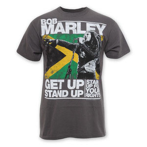 Bob Marley- Get Up Stand Up on a grey shirt