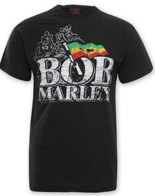 Bob Marley- Distressed Logo on a black shirt (Sale price!)