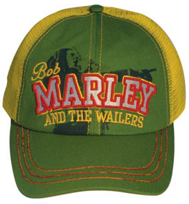 Bob Marley & The Wailers on a green/yellow trucker hat