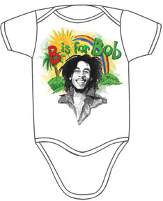 Bob Marley- B Is For Bob on a white onesie