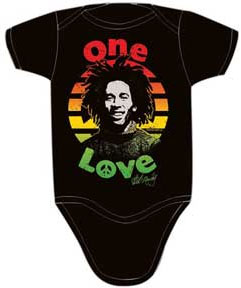 Bob Marley- One Love (Marley's Face In Circle) on a black onesie
