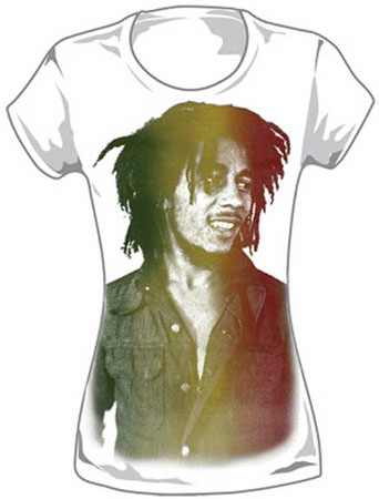 Bob Marley- Rasta Fade Pic on a  white girls fitted shirt (Sale price!)