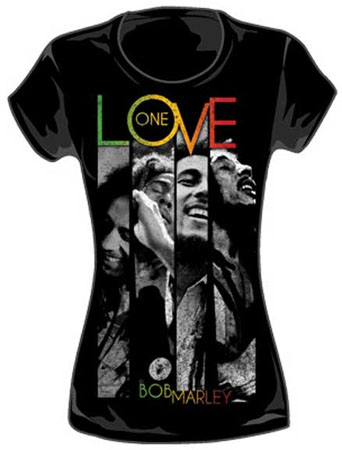 Bob Marley- One Love Stripe Pics on a black girls fitted shirt