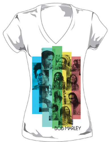 Bob Marley- Faces Collage on a white V-Neck girls fitted shirt (Sale price!)