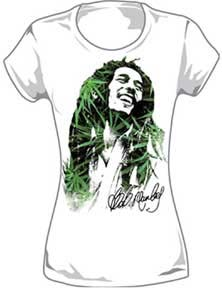 Bob Marley- Leaf Face on a white girls fitted shirt