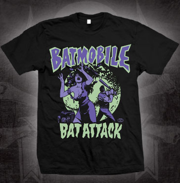 Batmobile- Bat Attack on a black shirt (Sale price!)
