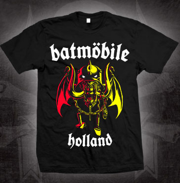 Batmobile- Holland (Winged Batmohead) on a black shirt (Sale price!)