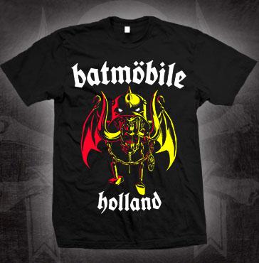 Batmobile- Holland (Winged Batmohead) on a black shirt (Sale price!)