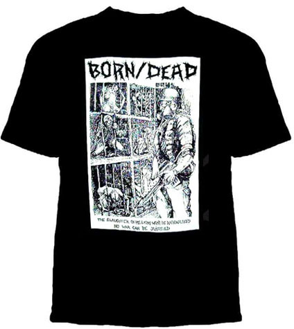 Born/Dead- The Slaughter Of Millions Won't Be Rationalized on a black YOUTH sized shirt