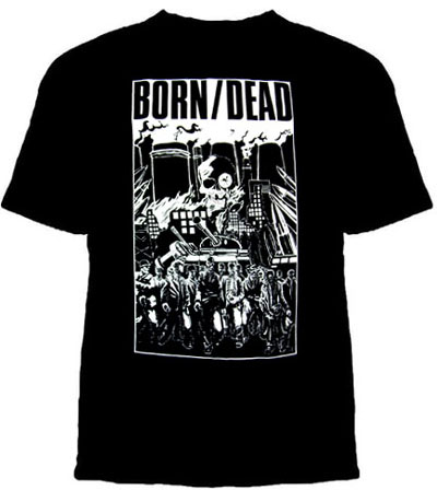 Born/Dead- Zombies on a black YOUTH sized shirt