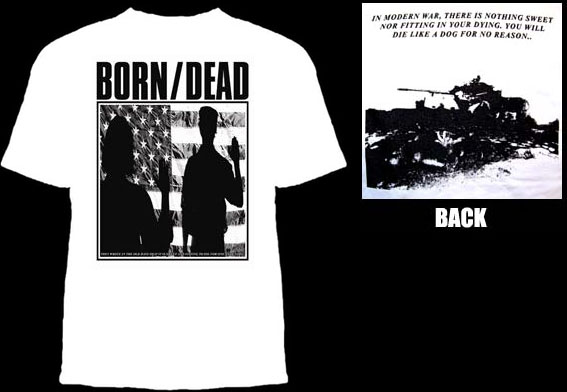Born/Dead- Die For Ones Country on a white YOUTH sized shirt