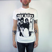 Boys- To Hell With on a white ringspun cotton shirt