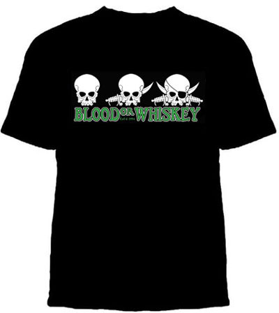 Blood Or Whiskey- 3 Skulls on a black shirt (Sale price!)
