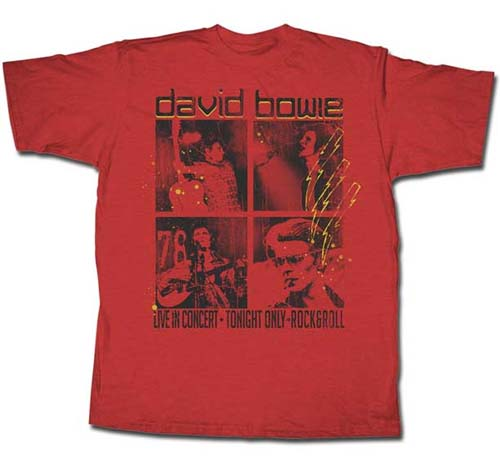 David Bowie- Live In Concert on a red shirt (Sale price!)
