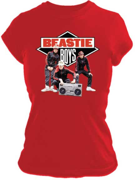 Beastie Boys- Band Pic on a red girls fitted shirt