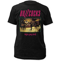 Buzzcocks- Singles Going Steady on a black ringspun cotton shirt