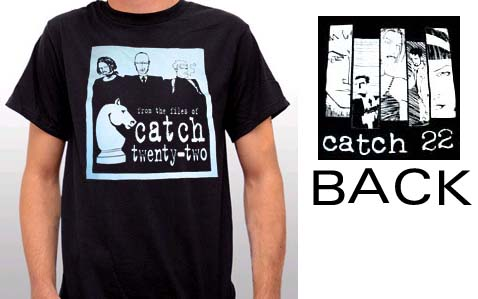 Catch 22- Band Cartoon on front and back on a black shirt
