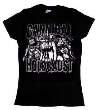 Cannibal Holocaust- The One That Goes ALL The Way on a black girls fitted shirt
