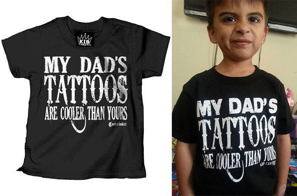 My Dad's Tattoos Are Cooler Than Yours on a black kids shirt by Cartel Ink - SALE