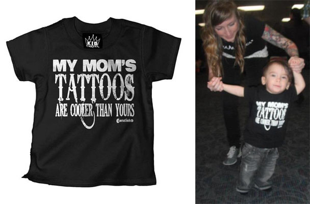 My Mom's Tattoos Are Cooler Than Yours on a black kids shirt by Cartel Ink - SALE