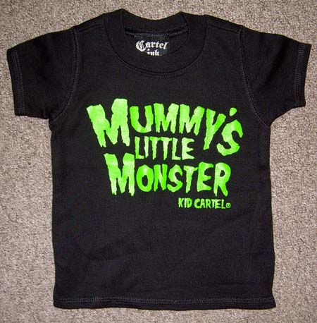 Mummy's Little Monster - green print - on a black kids shirt by Cartel Ink - SALE sz 6 month only