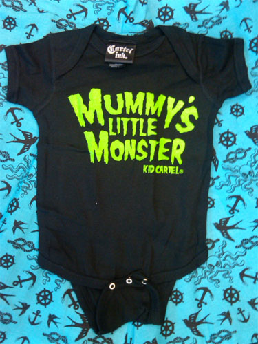 Mummy's Little Monster on a black onesie by Cartel Ink - green print