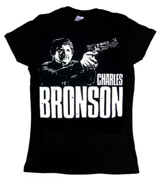 Charles Bronson- Pointing Gun on a black girls fitted shirt (Sale price!)