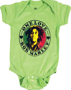 Bob Marley- One Love on a lime onesie
