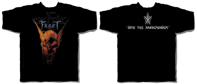 Celtic Frost- Demon Head on front, Into The Pandemonium on back on a black shirt