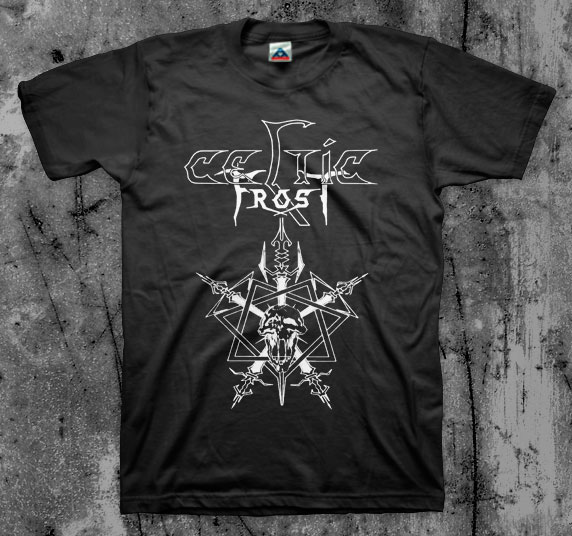 Celtic Frost- Logo With Swords on a black shirt
