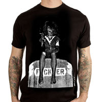 Christian Death- Rozz Williams On Gravestone on a black ringspun cotton shirt by Lethal Amounts