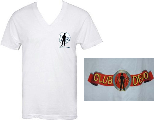 Devo- Club Devo on front, Banner on back on white V-Neck shirt (Sale price!)