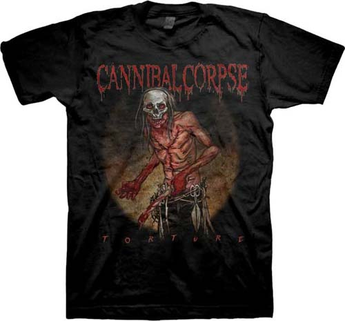 Cannibal Corpse- Torture (Guy With Knife) on a black shirt