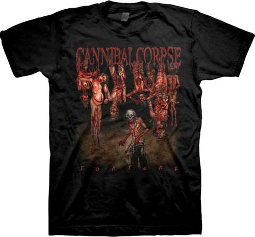 Cannibal Corpse- Torture (Guy With Knife & Hanging Bodies) on a black shirt
