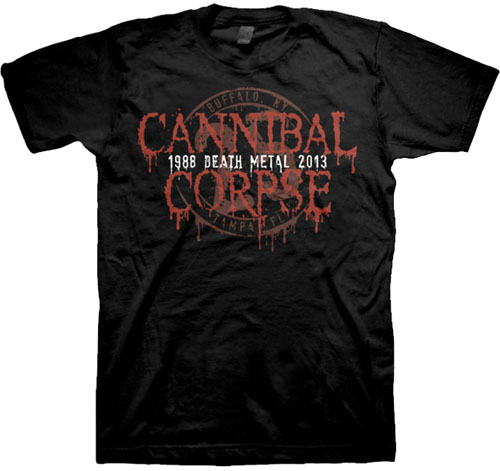 Cannibal Corpse- 25th Anniversary on a black shirt