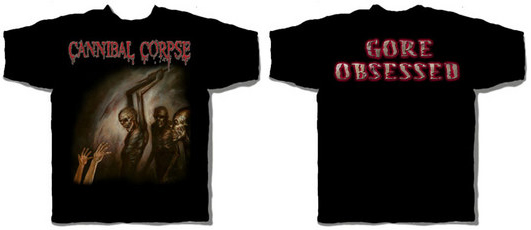 Cannibal Corpse- Zombies on front, Gore Obsessed on back on a black shirt