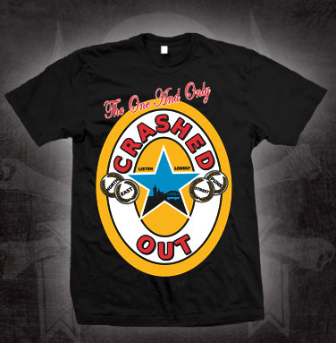 Crashed Out- Brown Ale on a black shirt (Sale price!)