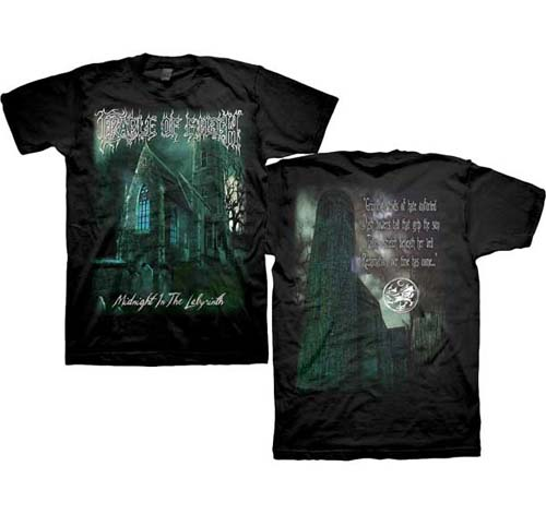 Cradle Of Filth- Midnight In The Labyrinth on front, Quote on back on a black shirt