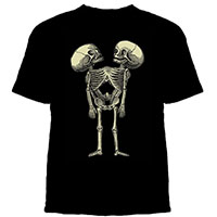 Conjoined Twin Skeletons on a black shirt