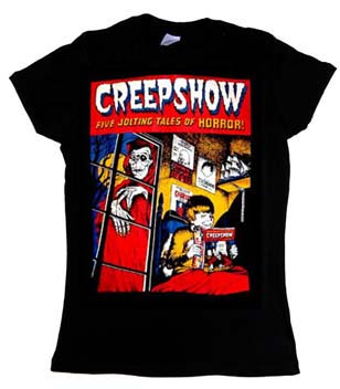 Creepshow- Five Jolting Tales Of Horror! on a black girls fitted shirt