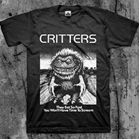 Critters- They Eat So Fast on a black shirt