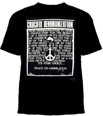 Crucifix- Dehumanization on a black shirt (Sale price!)