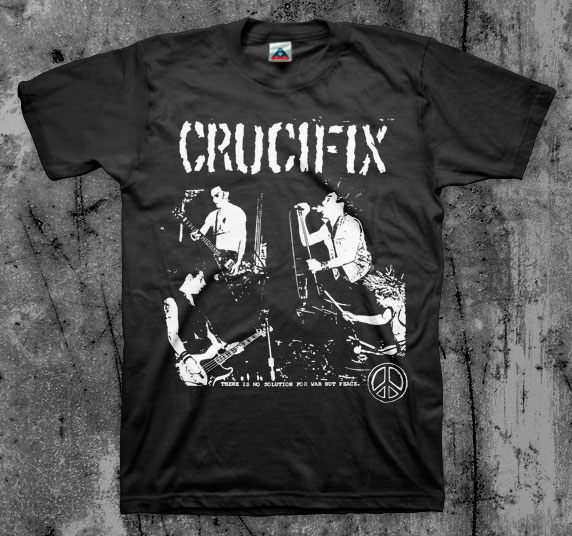 Crucifix- There Is No Solution To War But Peace on a black shirt