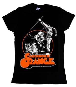 Clockwork Orange- Collage on a black girls fitted shirt
