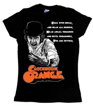 Clockwork Orange- Come With Uncle on a black girls fitted shirt